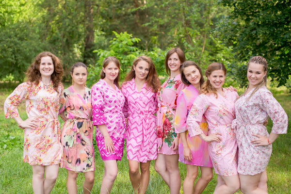 Assorted Pink Robes, Shades of Pink Bridesmaids Robes