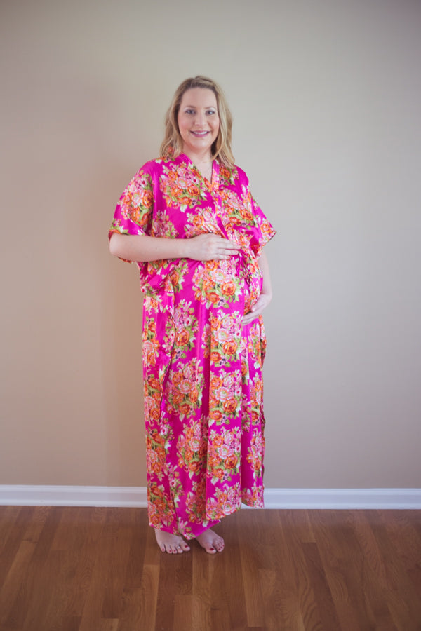 Magenta Silk Front Buttoned Hospital Gown