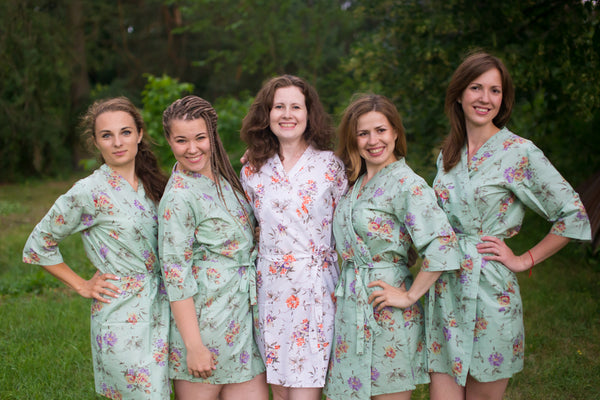 Romantic Flowers Pattern Bridesmaids Robes|Grayed Jade Romantic Flowers Pattern Bridesmaids Robes|Romantic Florals