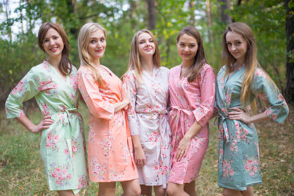 Mint, Peach & Grayed Jade Wedding Colors Bridesmaids Robes