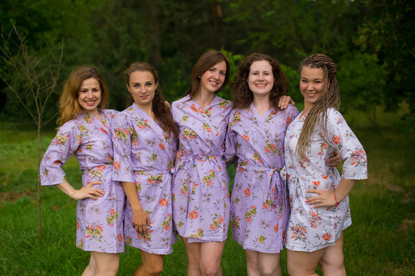 Lilac Romantic Flowers Pattern Bridesmaids Robes