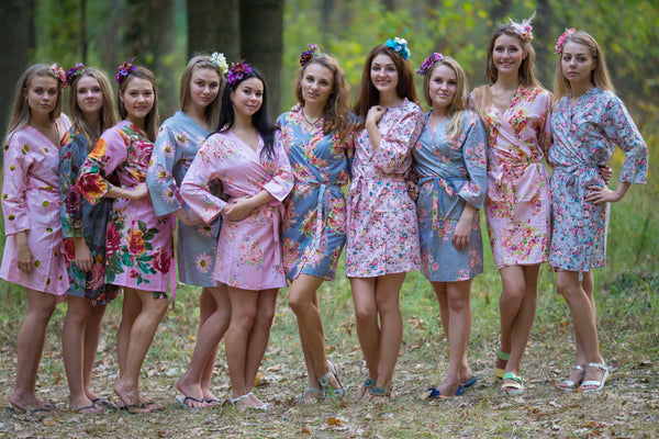 Gray and Pink Wedding Colors Bridesmaids Robes