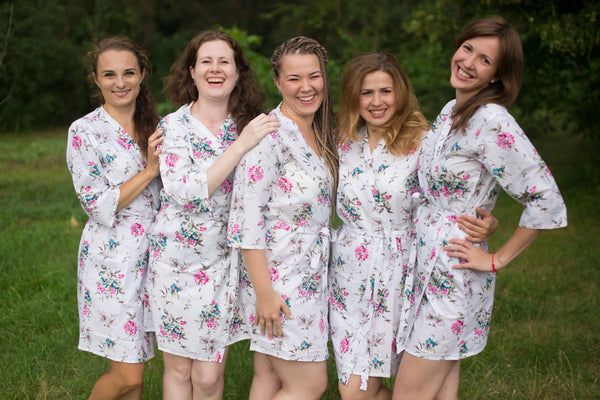 White Pink Teal Romantic Flowers Pattern Bridesmaids Robes