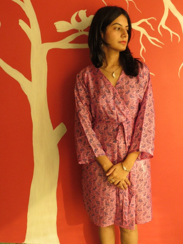 Silk Raspberry Leafy Knee Length, Kimono Crossover Belted Robe