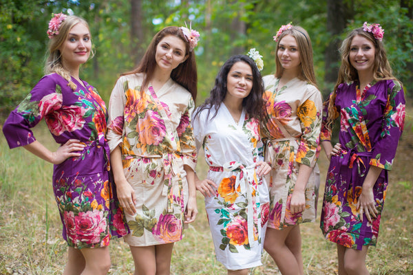 Eggplant, Beige and White Wedding Colors Bridesmaids Robes