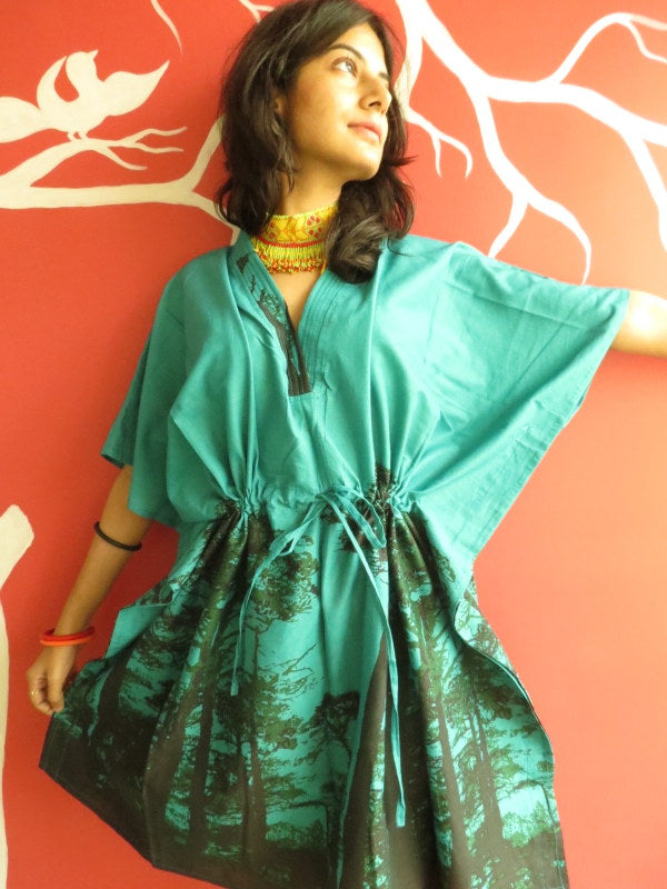 Teal Tree of Life V-Neck, Knee Length, Cinched Waist Caftan