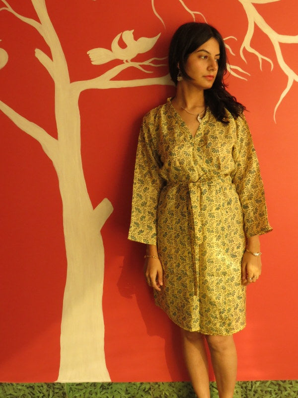 Silk Yellow Leafy Knee Length, Kimono Crossover Belted Robe