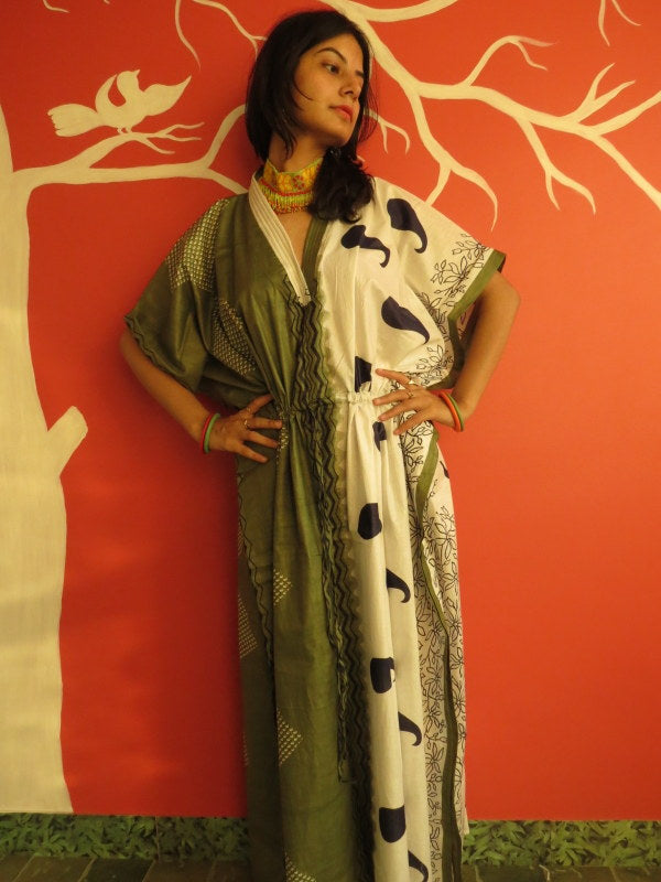 Green Paisley V-Neck, Ankle Length, Cinched Waist Caftan