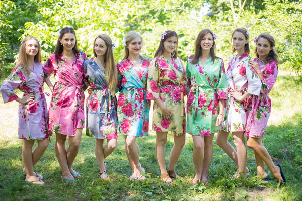 Mismatched Large Fuchsia Floral Blossom Patterned Bridesmaids Robes in Soft Tones