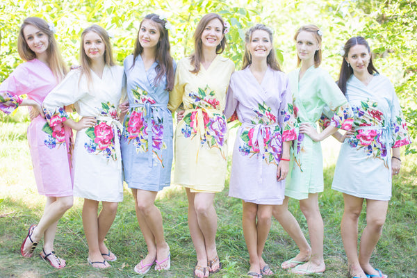 Mismatched One Long Flower Patterned Bridesmaids Robes in Soft Tones|Mismatched One Long Flower Patterned Bridesmaids Robes in Soft Tones|Mismatched One Long Flower Patterned Bridesmaids Robes in Soft Tones|One Long Flower