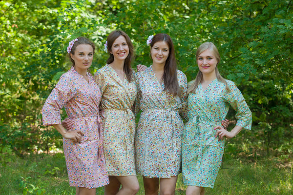 Mismatched Petit Floral Patterned Bridesmaids Robes in Soft Tones