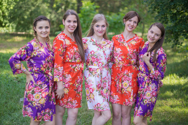 Purple and Orange Wedding Colors Bridesmaids Robes