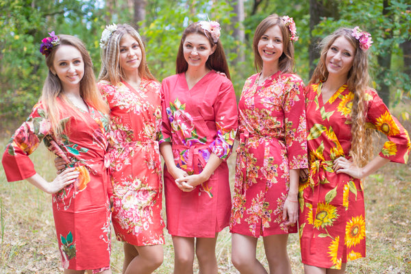 Assorted Red Robes, Shades of Red Wedding Colors Bridesmaids Robes
