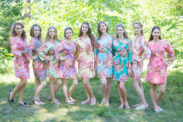 Mismatched Rosy Red Posy Patterned Bridesmaids Robes in Soft Tones