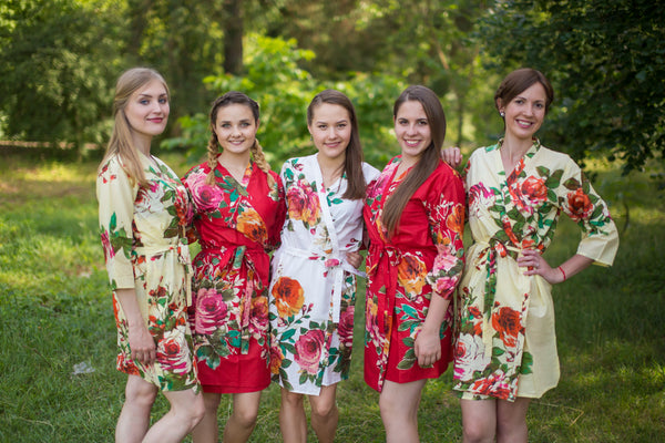 Red and Yellow Wedding Colors Bridesmaids Robes