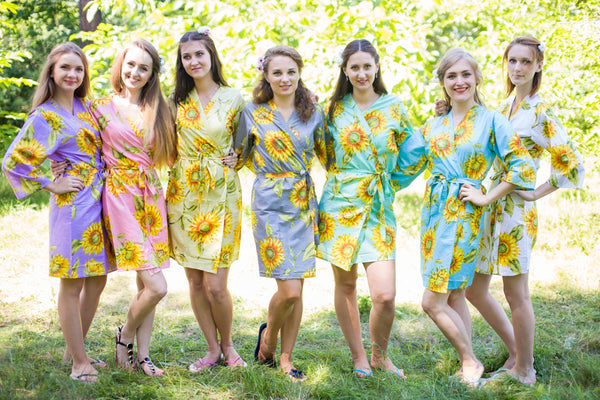 Mismatched Sunflower Sweet Patterned Bridesmaids Robes in Soft Tones|Mismatched Sunflower Sweet Patterned Bridesmaids Robes in Soft Tones|Mismatched Sunflower Sweet Patterned Bridesmaids Robes in Soft Tones|Sunflower Sweet