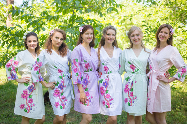 Mismatched Swirly Floral Vine Patterned Bridesmaids Robes in Soft Tones|Mismatched Swirly Floral Vine Patterned Bridesmaids Robes in Soft Tones|Mismatched Swirly Floral Vine Patterned Bridesmaids Robes in Soft Tones|Swirfly Floral Vine
