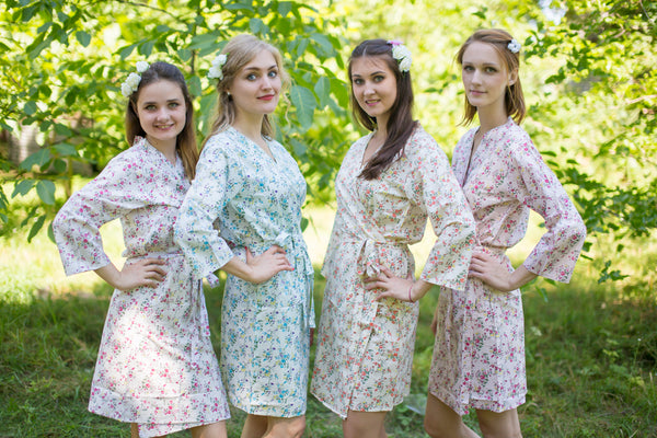 Mismatched Tiny Blossoms Patterned Bridesmaids Robes in Soft Tones