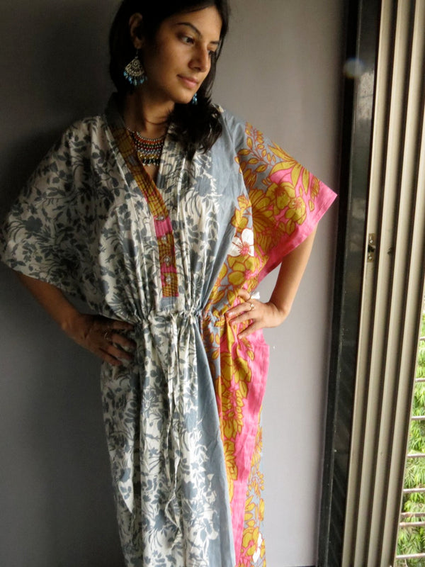 Gray Pink Leafy V-Neck Button Down to Waist, Ankle Length, Cinched Waist Caftan-F2 fabric Code