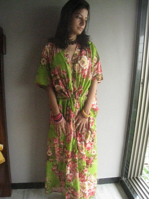 Green Floral V-Neck Button Down to Waist, Ankle Length, Cinched Waist Caftan-A5 fabric Code