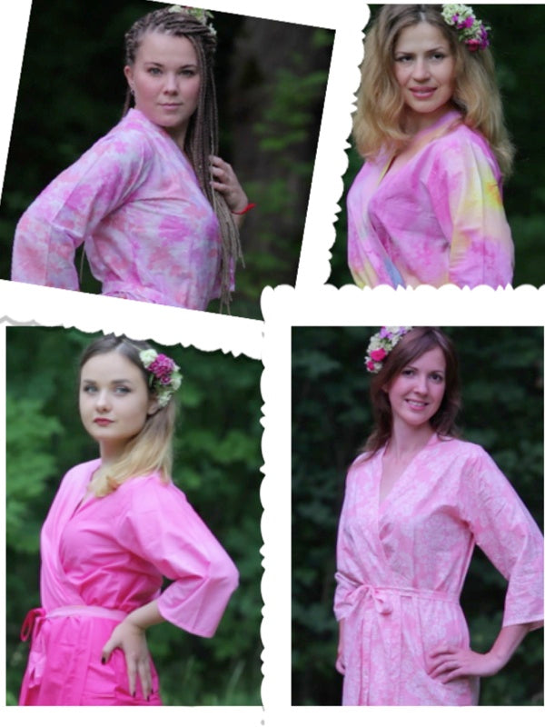 Assorted Pink Patterns, Shades of Pink Bridesmaids Robes