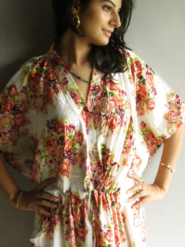 White Floral Posy V-Neck Button Down to Waist, Ankle Length, Cinched Waist Caftan-C7 fabric Code