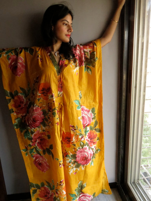 Yellow Multicolor Big Flower V-Neck Button Down to Waist, Ankle Length, Cinched Waist Caftan-D9 fabric Code
