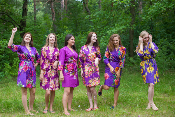 Assorted Purple Robes, Shades of Purple Wedding Colors Bridesmaids Robes