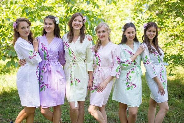 Mismatched Climbing Vines Patterned Bridesmaids Robes in Soft Tones