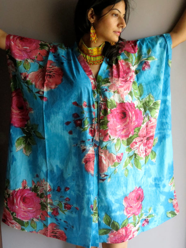 Blue Fuchsia Flowers V-Neck Full Button Down, Knee Length, Belted Caftan-E1 fabric Code