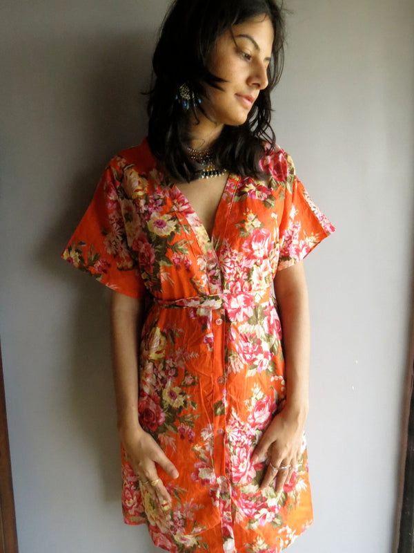 Orange Floral V-Neck Button Down to Waist, Knee Length, Cinched Waist Caftan