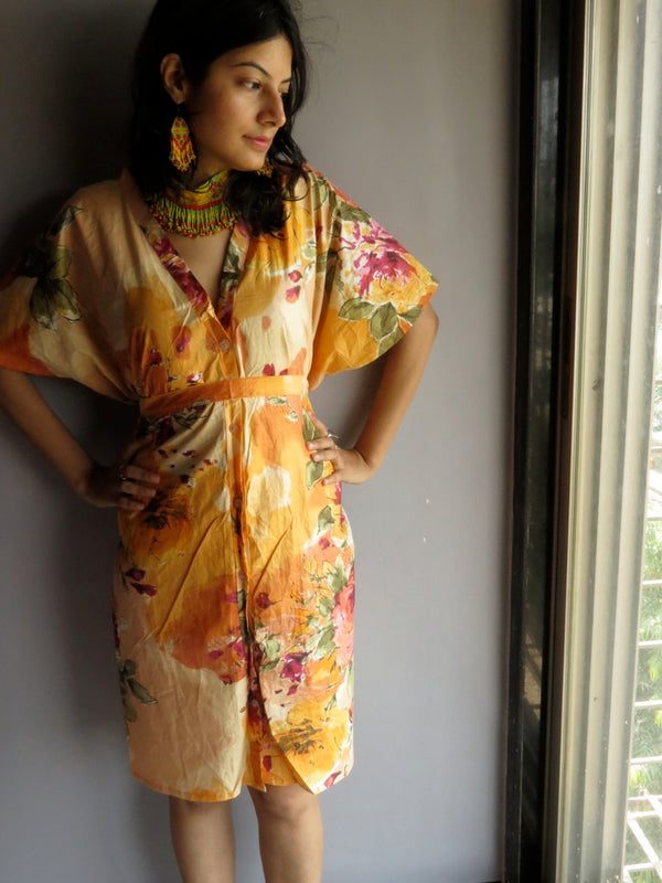 Light Peach Multicolor Big Flower V-Neck Button Down to Waist, Knee Length, Cinched Waist Caftan-D6 fabric Code