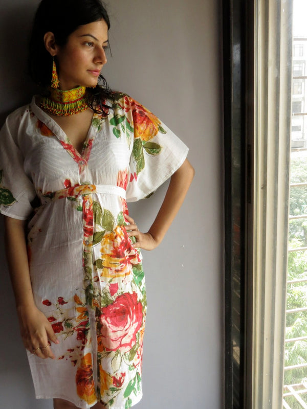 WhiteMulticolor Big Flower V-Neck Button Down to Waist, Knee Length, Cinched Waist Caftan-D10 fabric Code