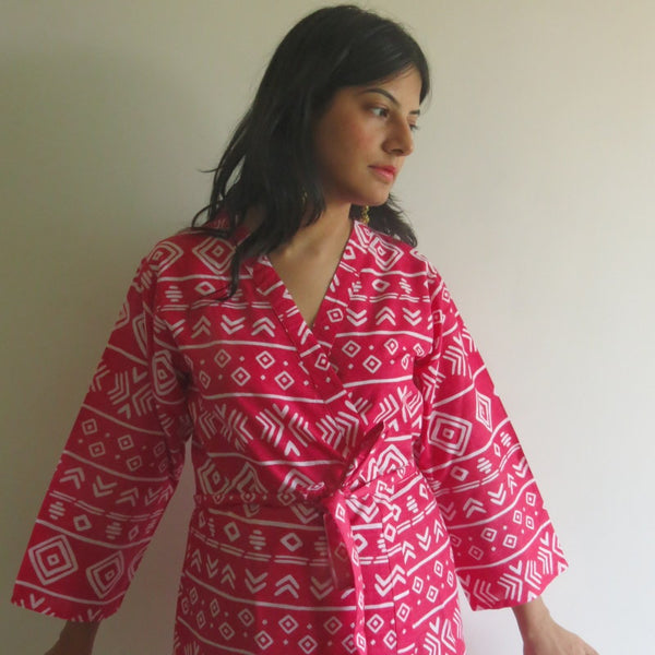 Red Aztec Knee Length, Kimono Crossover Belted Robe