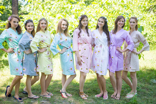 Mismatched Falling Daisies Patterned Bridesmaids Robes in Soft Tones|Mismatched Falling Daisies Patterned Bridesmaids Robes in Soft Tones|Mismatched Falling Daisies Patterned Bridesmaids Robes in Soft Tones|Falling Daisies