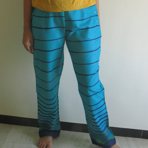 Teal Striped Straight Cut Drawstring Pajamas