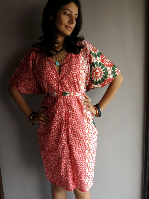 Sakura Red Geometric V-Neck Button Down, Ankle Length, Belted Waist Caftan
