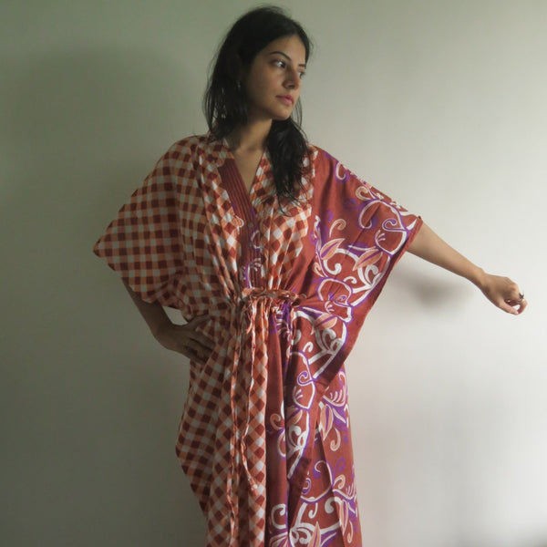Brown Plaid V-Neck Button Down to Waist, Ankle Length, Cinched Waist Caftan-JJ3 fabric Code