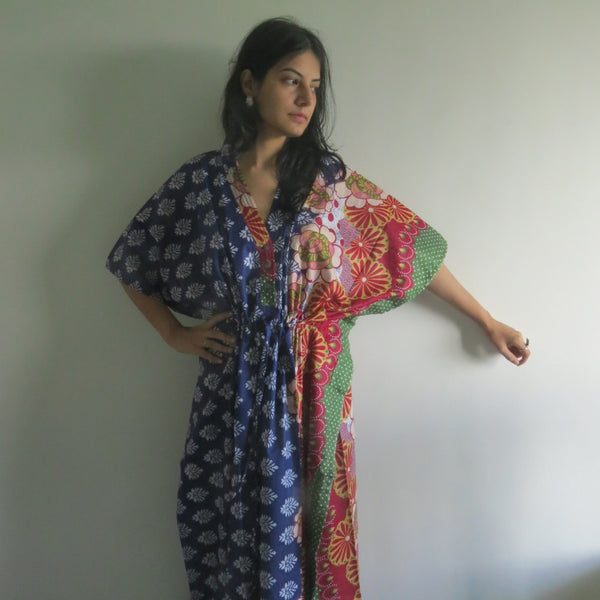 Blue Floral Bordered V-Neck Button Down to Waist, Ankle Length, Cinched Waist Caftan-EE3 fabric Code