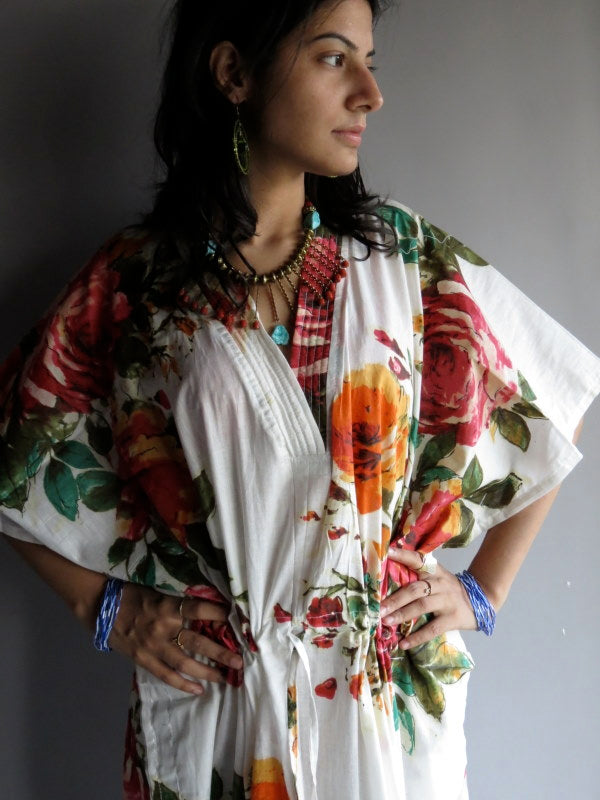 White Multicolor Big Flower V-Neck, Ankle Length, Cinched Waist Caftan-D10 fabric Code