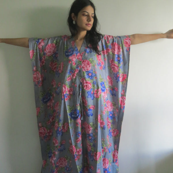 Gray Blue Floral V-Neck Button Down to Waist, Ankle Length, Cinched Waist Caftan