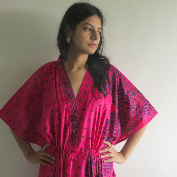 Magenta Abstract Floral V-Neck Button Down to Waist, Ankle Length, Cinched Waist Caftan-N3 fabric Code