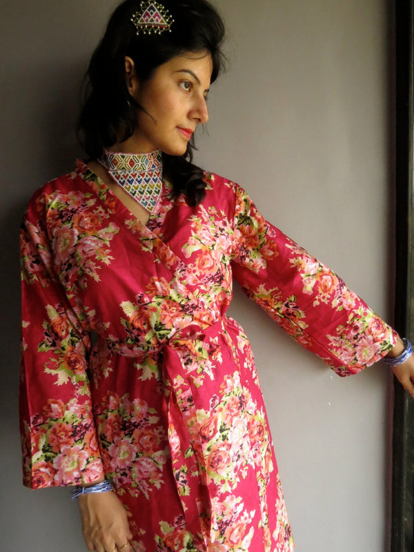 Magenta Floral Knee Length, Kimono Crossover Belted Robe-C5 fabric Code
