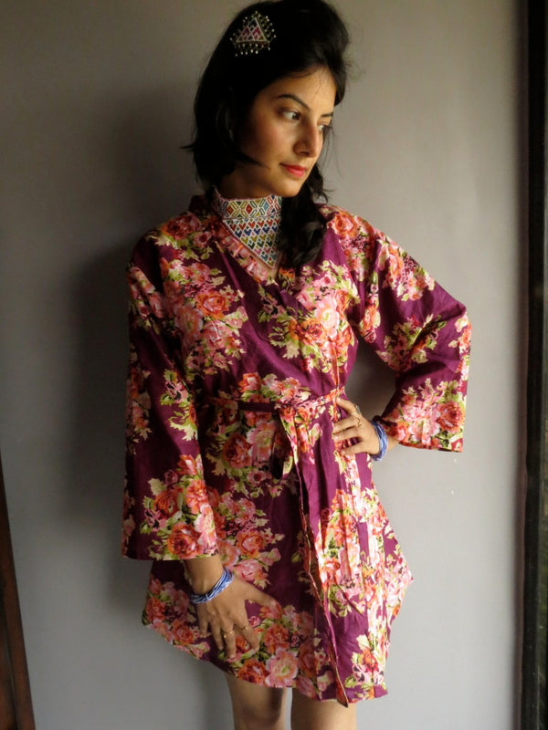 Purple Floral Knee Length, Kimono Crossover Belted Robe-C8 fabric Code