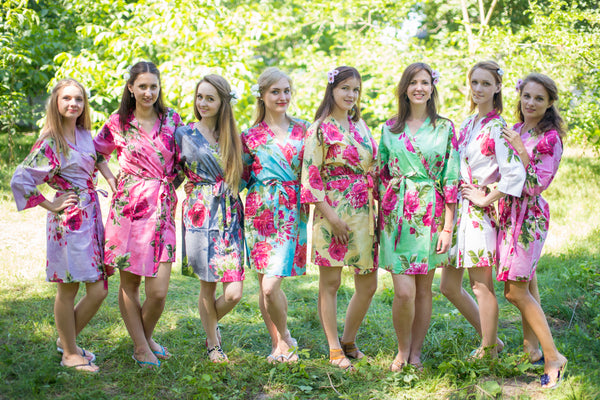 Mismatched Fuchsia Large Floral Blossom Patterned Bridesmaids Robes in Soft Tones|Mismatched Fuchsia Large Floral Blossom Patterned Bridesmaids Robes in Soft Tones|Mismatched Fuchsia Large Floral Blossom Patterned Bridesmaids Robes in Soft Tones|Large Fuchsia Floral Blossom