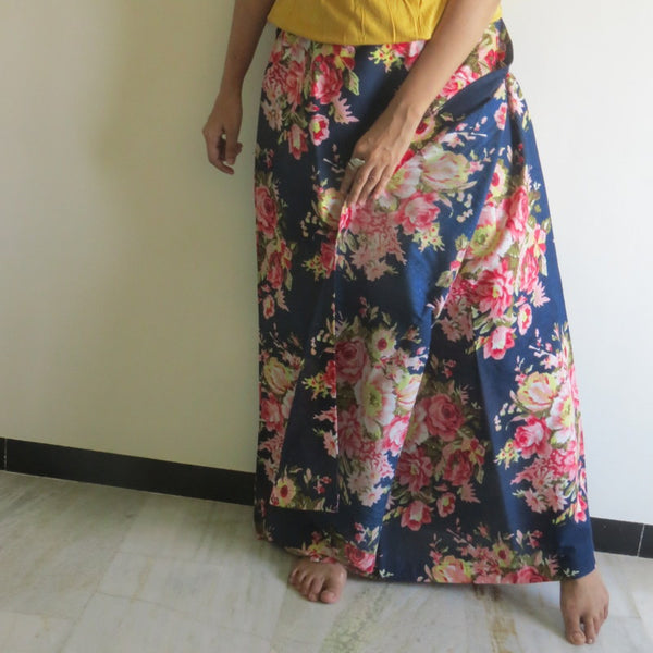 Dark Blue Floral Wrap Around Skirt