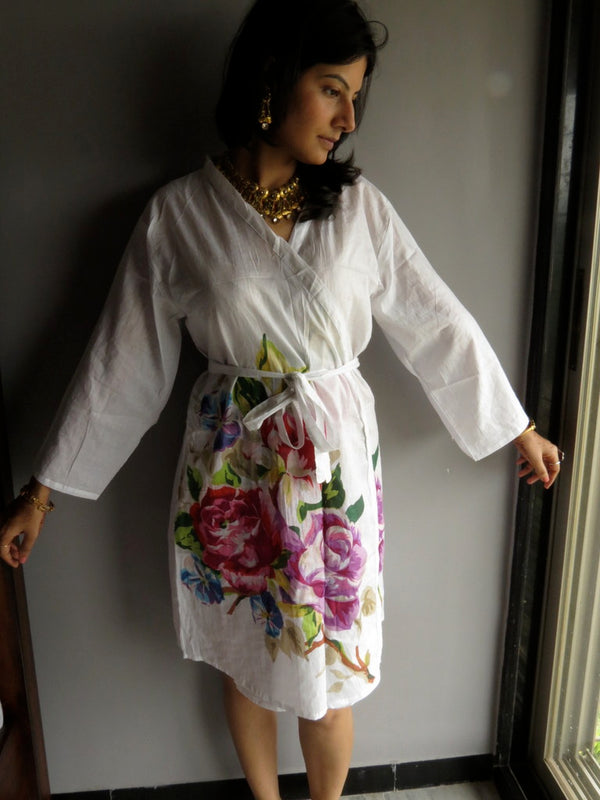 White Single Flower Knee Length, Kimono Crossover Belted Robe