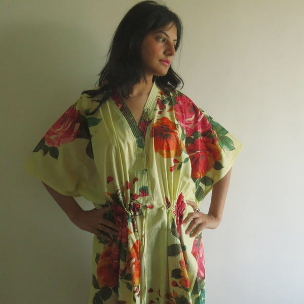 Light Yellow Floral V-Neck Button Down to Waist, Ankle Length, Cinched Waist Caftan