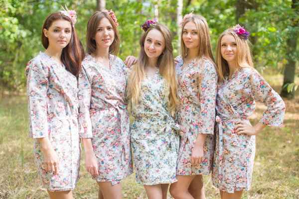 Gray Vintage Chic Floral Pattern Bridesmaids Robes