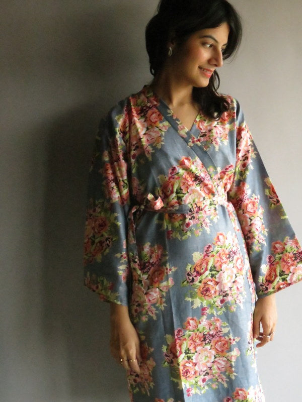 Gray Floral Knee Length, Kimono Crossover Belted Robe-C13 fabric Code